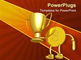 PowerPoint template displaying gold dollar coin lifting gold champion trophy