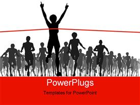 PowerPoint template displaying a race with one person crossing the finishing line