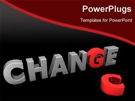 PowerPoint template displaying glossy grey word CHANGE with the red letter G and a laying red letter C