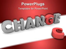 PowerPoint template displaying three dimensional word change in gray letters with red G replacing discarded C
