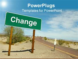 PowerPoint template displaying a road in the middle of the desert with a change sign