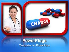 PowerPoint template displaying a docot showing tablets and a number of capsule sin the other frame