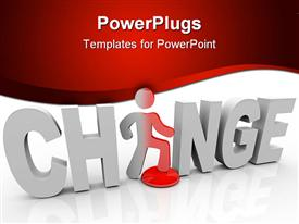 PowerPoint template displaying 3D word change with white letters and a figure replacing letter A in word change on white and red background