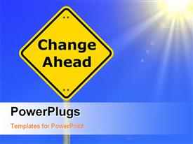 PowerPoint template displaying the sign of change ahead with sun in the background