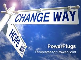 PowerPoint template displaying change Way Hope Ave intersection, blue sky, wispy clouds