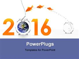 PowerPoint template displaying three goldfishes jumping into new year with earth as bait