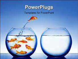 Gold fish jumping out of the fish bowl powerpoint theme