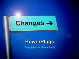 PowerPoint template displaying the sign of a change with bluish background