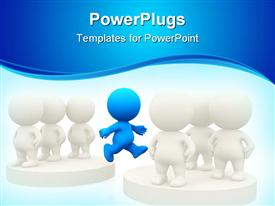 PowerPoint template displaying blue figure jumping from one group of white figures to another