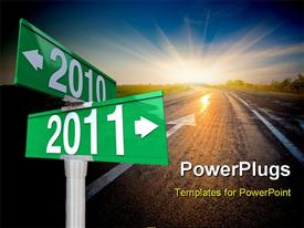 PowerPoint template displaying a new year representation saying good bye to the old year