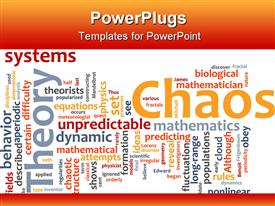 PowerPoint template displaying a collection of various words related to chaos in general being placed together