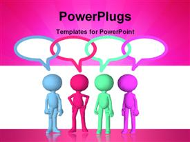 PowerPoint template displaying colored 3D men with overlapping speech bubbles on pink and white background