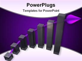 PowerPoint template displaying six vertical black bars with a purple arrow behind them