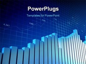 PowerPoint template displaying financial bar chart with grid lines in background