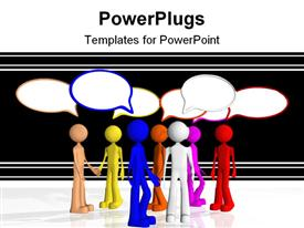 PowerPoint template displaying multi colored human figures having a discussion on a black background