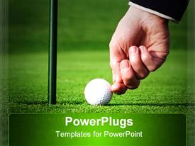 PowerPoint template displaying adult hand pushing and cheating a golf ball to score