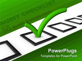 PowerPoint template displaying audit checklist with green tick in bright green background