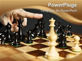 Finger pushing over King chess piece in defeat powerpoint design layout