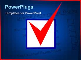 PowerPoint template displaying checkbox with red tick in the background.