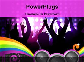 PowerPoint template displaying cheering crowd at a concert in the background.