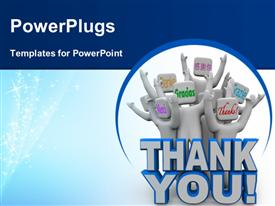 PowerPoint template displaying a group of figures with the word thank you