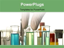 PowerPoint template displaying hand in latex gloves taking test tube in the background.