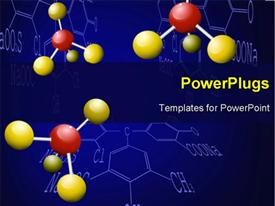 PowerPoint template displaying background with molecule structure and abstract chemical formula in the background.