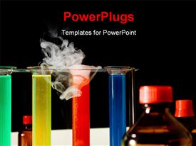 Laboratory scene with test tubes bottles liquids smoke powerpoint theme