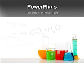 PowerPoint template displaying chemical equations on chalkboard with laboratory equipments filled with colored liquids