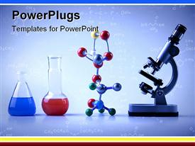 PowerPoint template displaying lab equipment with vials with blue and red liquids, multicolored molecular chain and microscope on light blue background with chemical formulas