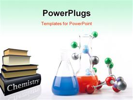 PowerPoint template displaying chemistry, Molecular Chain and Flasks witch Liquid Fluid and Microscope series