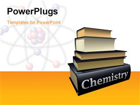 PowerPoint template displaying molecular structure of an atom in background with pile of chemistry books