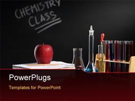 PowerPoint template displaying chemistry class concept with red apple on pile of books and chemical solution in the background.