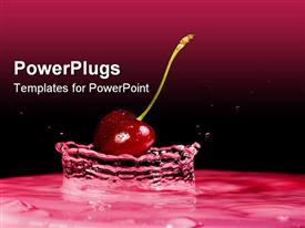 PowerPoint template displaying splash of water with cherry and black background