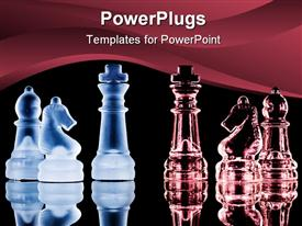 Challenge Concept With Two Different Colored Chess Piece Sides powerpoint theme