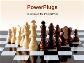 Chess pieces on board powerpoint design layout