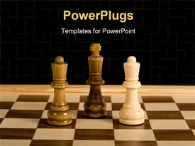 PowerPoint template displaying marbles chess board with white queen against black king and queen