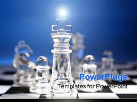PowerPoint template displaying king leading team of glass chess pieces