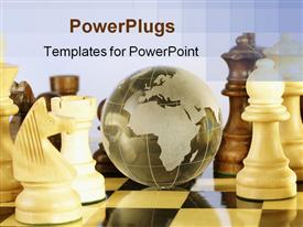 PowerPoint template displaying shiny crystal globe on a chess board in the background.
