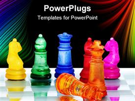 PowerPoint template displaying seven different colored chess pieces on a reflective chess board