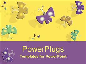 PowerPoint template displaying colored energetic butterflies
