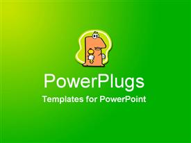 PowerPoint template displaying abstract field of green with centered cartoon character