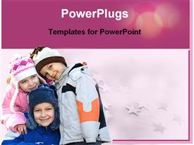 PowerPoint template displaying three children are smiling in the background.