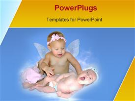 Two babies are playing each other powerpoint template