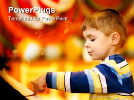 PowerPoint template displaying little boy plays the brown piano in the background.
