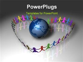 PowerPoint template displaying colorful paper kids forming love shape around earth globe