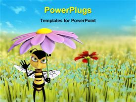 PowerPoint template displaying animated honey bee holding a purple flower as an umbrella