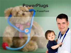 PowerPoint template displaying child care with doctor with stethoscope around neck holding a baby in his arms, with blurred teddy bear wearing toy stethoscope in the background
