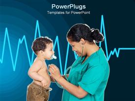 PowerPoint template displaying nurse checking little boy's heartbeat in the background.