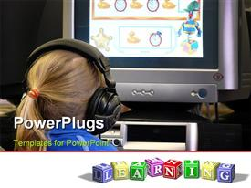 PowerPoint template displaying small girl using interactive learning material in a public library in the background.
